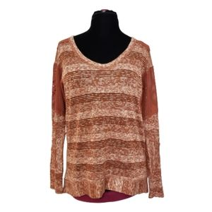 We The Free Cutout Floral Knit Scoopneck Rust Top